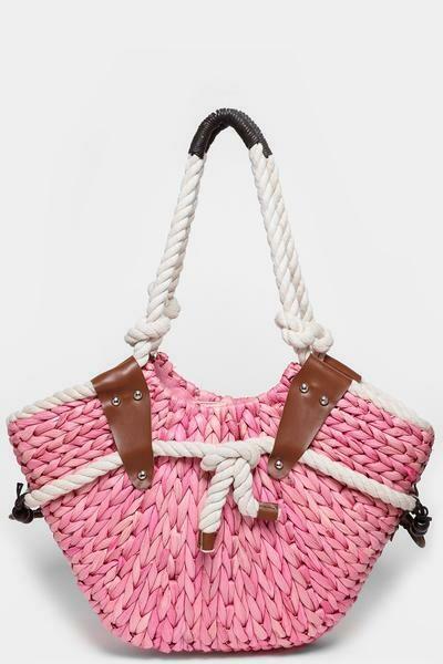 Faux Straw Pink Bucket Bag