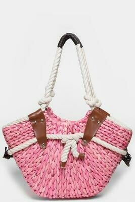 Faux Straw Pink Bucket Bag