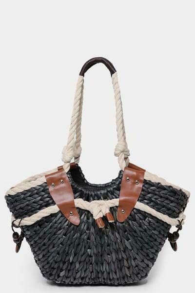 Faux Straw Black Bucket Bag