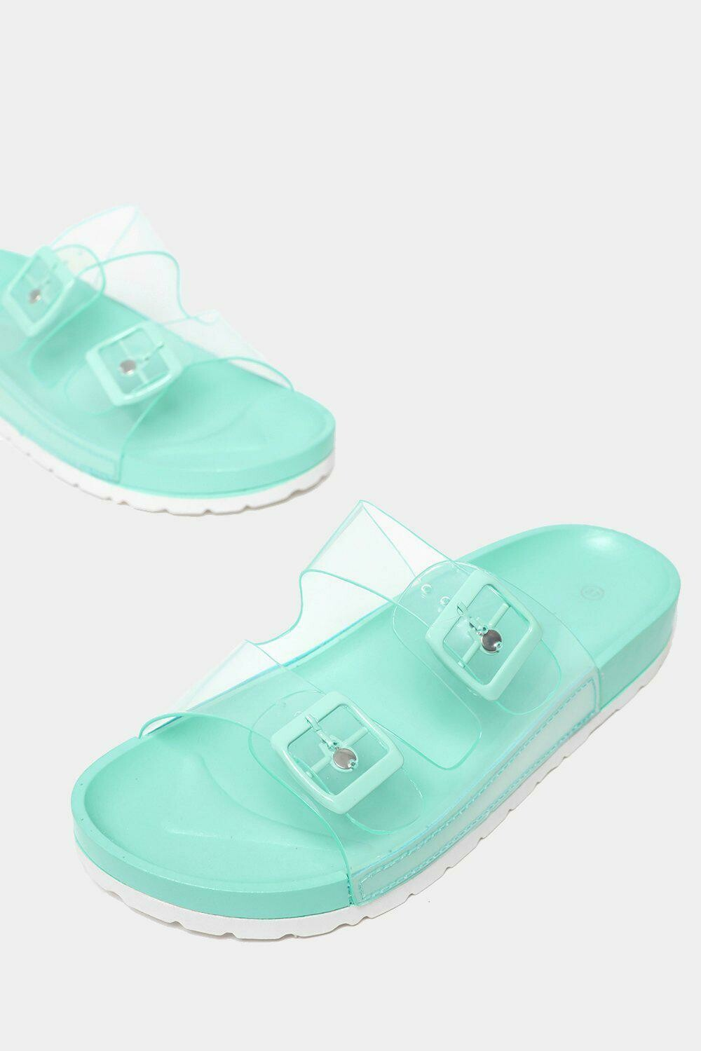 TWIN TRANSPARENT STRAPS GREEN SLIDERS