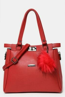 FAUX FUR POM POM CHARM RED HANDBAG