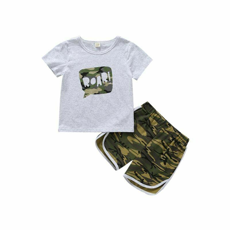 2-Piece Baby Boy ROAR T-shirt Matching Camo Shorts