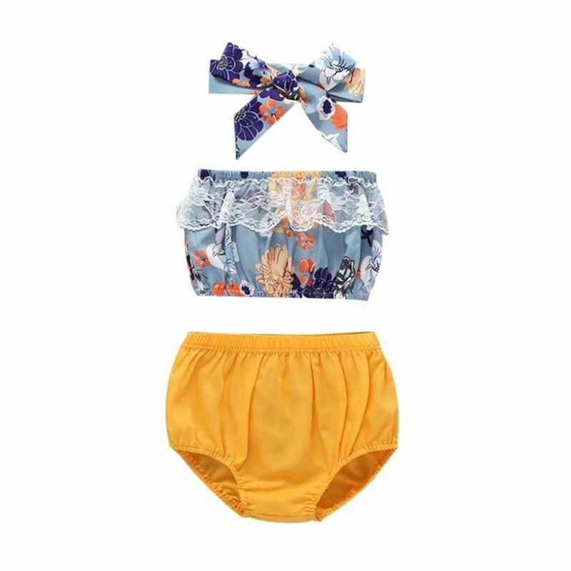 Lace Trim Flower Off Shoulder Crop Top Yellow Shorts Headband