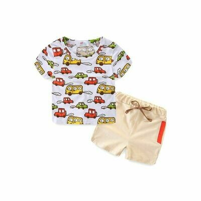 Car Print T-shirt Matching Pull-on Shorts
