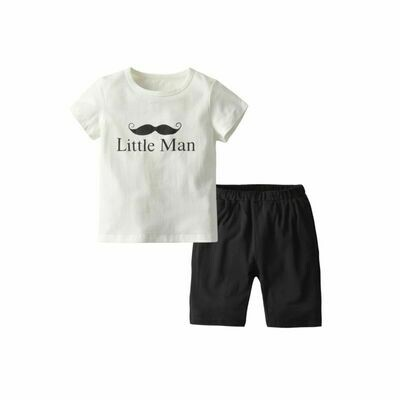 Little Man Mustache White T-shirt Matching Shorts