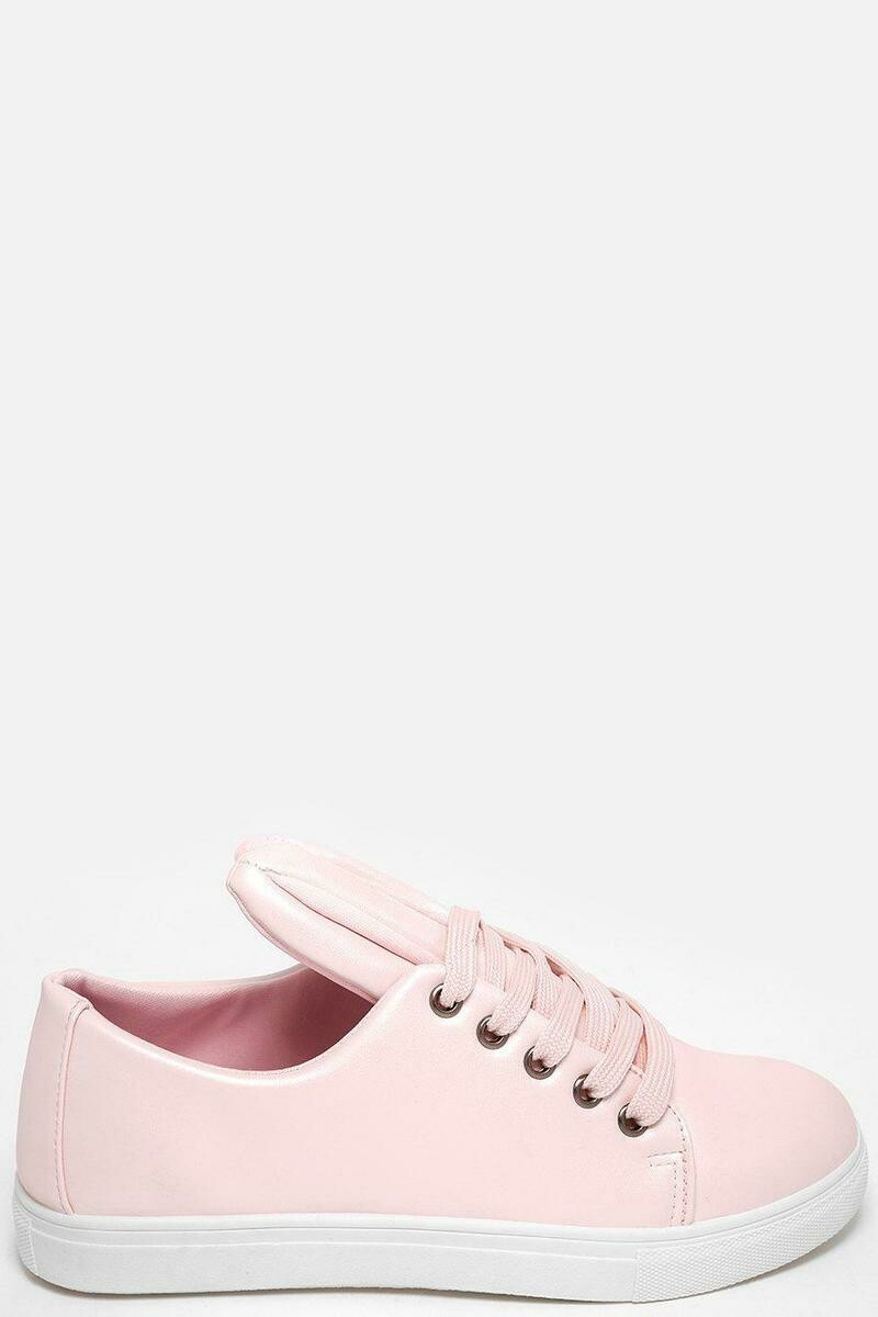 PINK BUNNY EARS FAUX LEATHER TRAINERS