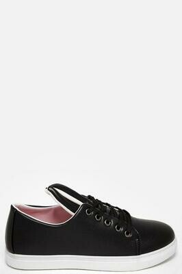 PINK DETAILS BLACK BUNNY EARS FAUX LEATHER TRAINERS