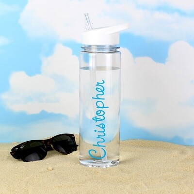Personalised Blue Text Name Island Water Bottle