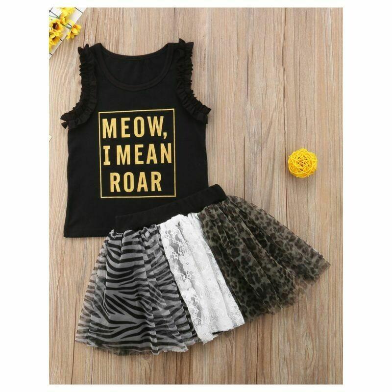 MEOW I MEAN ROAR Tank Top Matching Leopard Zebra-stripe Skirt