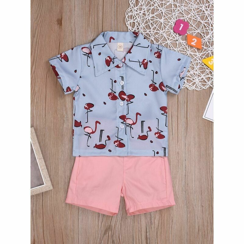 Boys Flamingo Outfit Turn-down Collar Shirt Matching Pink Shorts