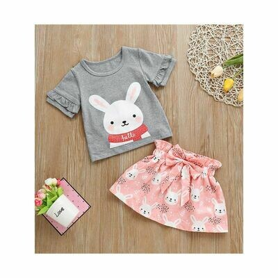 Bunny T-shirt Matching Bow Skirt