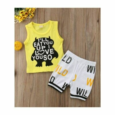 Cartoon Monster Tank Top Matching Wild Shorts