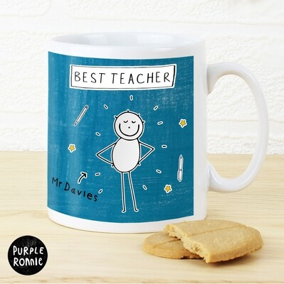 Personalised Purple Ronnie Male Teacher Mug