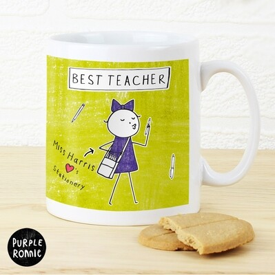 Personalised Purple Ronnie Female Teacher Mug
