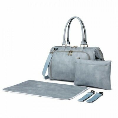 MISS LULU LEATHER LOOK 3 PIECE CHANGING BAG SET - BLUE