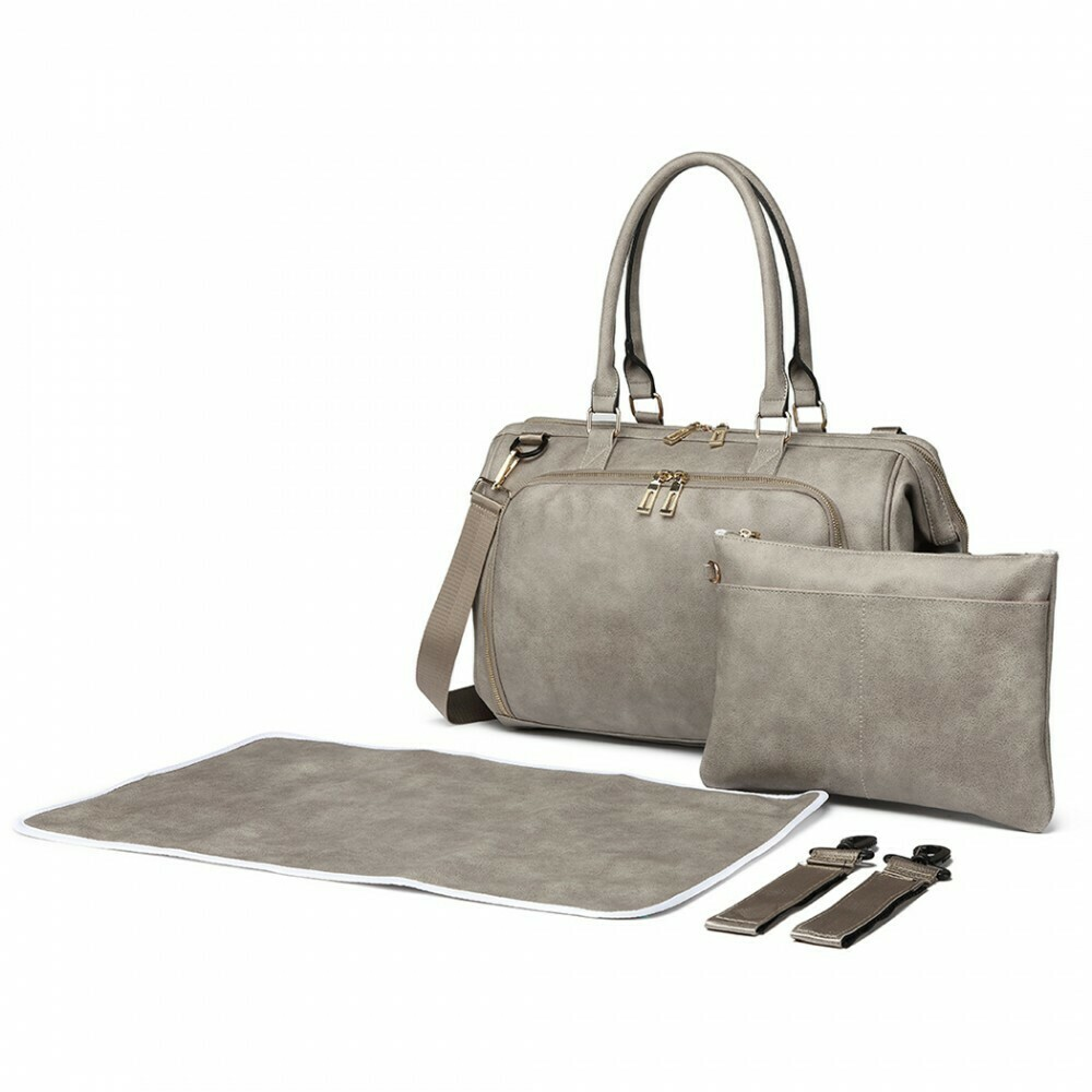 MISS LULU LEATHER LOOK 3 PIECE CHANGING BAG SET - GREY