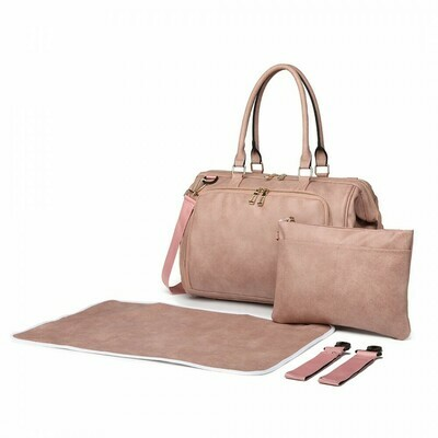 MISS LULU LEATHER LOOK 3 PIECE CHANGING BAG SET - PINK