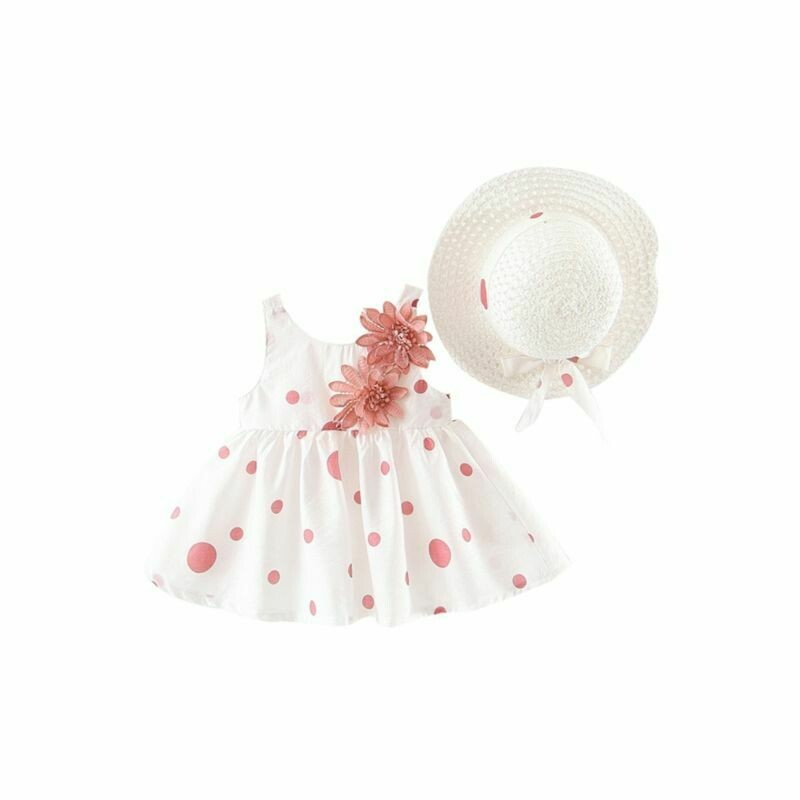 Flower Trim Polka Dots Dress Matching Hat - 3 Colours