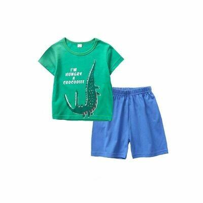 I AM HUNGRY Green Crocodile Tee & Shorts Set