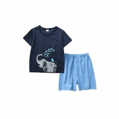 Blue Elephant Tee & Shorts Set