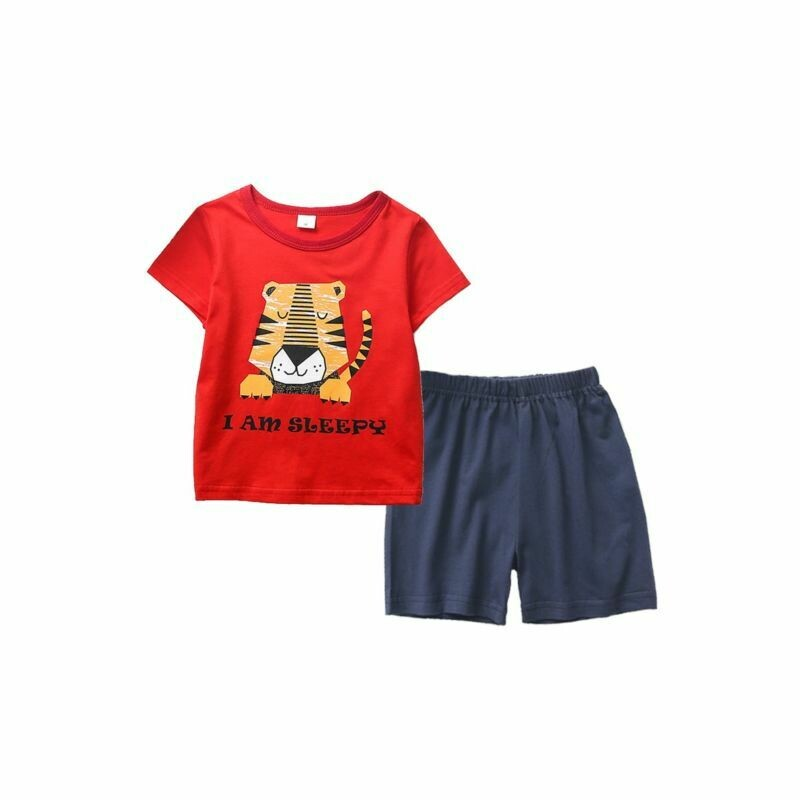 Red Sleepy Lion Tee and Shorts Matching Set