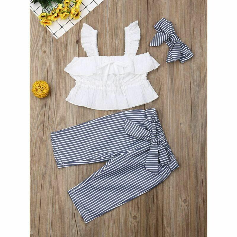 Girls Ruffled Top & Bow Stripe Trousers