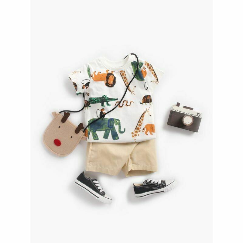 2-Piece Summer Animal Print T-shirt Matching Shorts