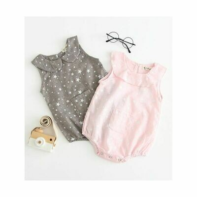 Peter Pan Collar Star Allover Print Baby Romper - 2 Colours
