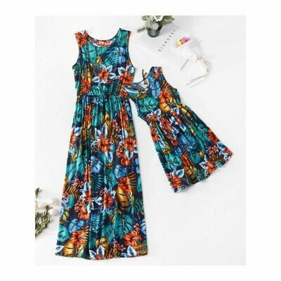 Mum and Me - Floral Print Sleeveless Beach Dress