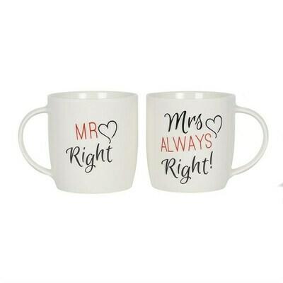 MR RIGHT MRS ALWAYS RIGHT MUG SET