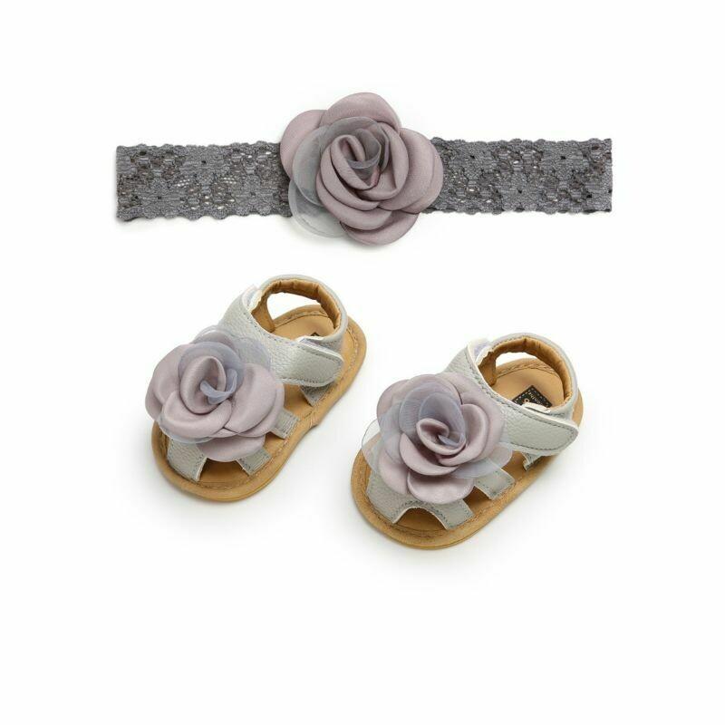 2-Piece Flower Trimmed Infant Sandal Matching Headband Set