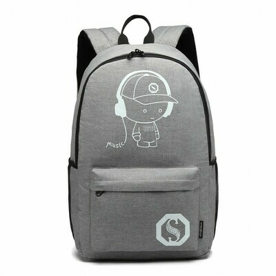 GLOW IN THE DARK WATERPROOF BACKPACK GREY