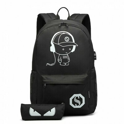 GLOW IN THE DARK WATERPROOF USB CHARGING BACKPACK AND PENCIL CASE BLACK
