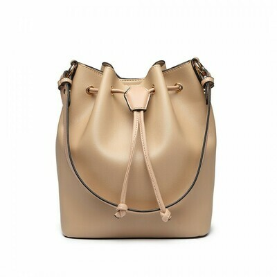 LEATHER LOOK DRAWSTRING SHOULDER BAG - APRICOT