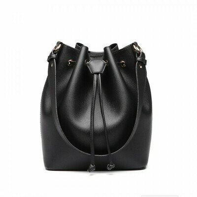 LEATHER LOOK DRAWSTRING SHOULDER BAG - BLACK