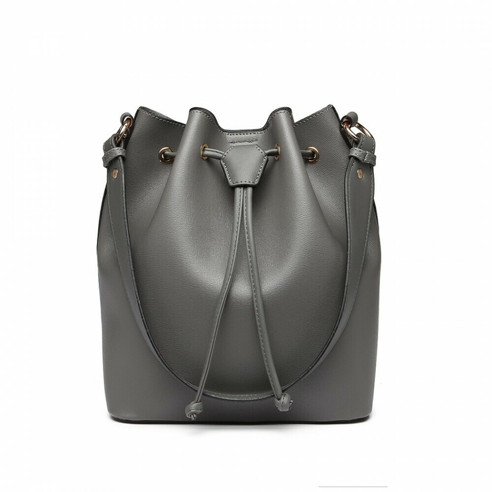 LEATHER LOOK DRAWSTRING SHOULDER BAG - GREY
