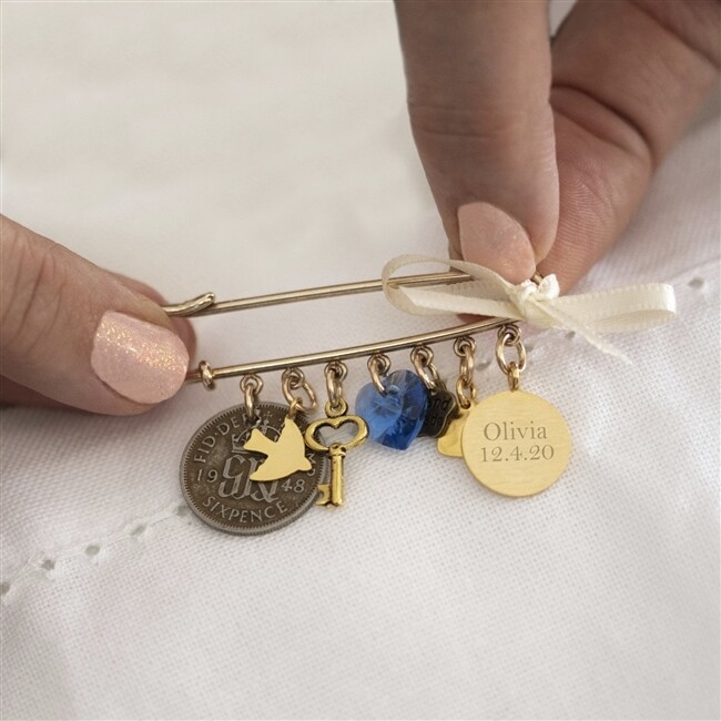 Personalised Wedding Bridal Pin - Gold