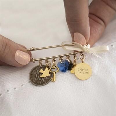 Personalised Wedding Bridal Pin - Gold