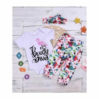 Beach Diva Flamingo Bodysuit Set
