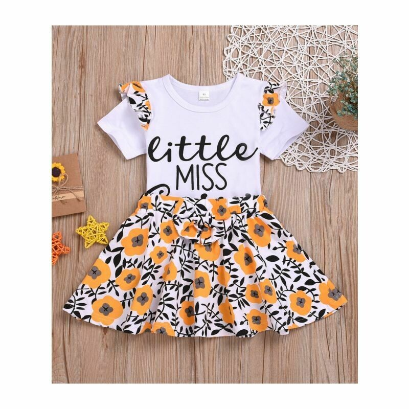 Little Miss Sassy Pants Print T-shirt Matching Flower Skirt