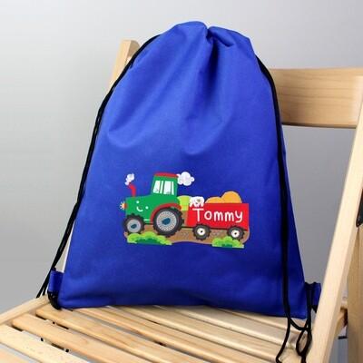 Personalised Tractor Blue Swim & Kit Bag
