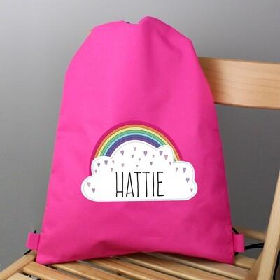 Personalised Rainbow Pink Swim & Kit Bag