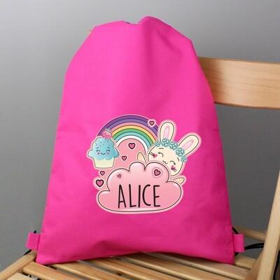 Personalised Cute Bunny Pink Swim & Kit Bag
