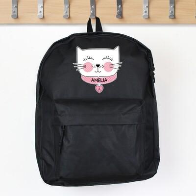 Personalised Cute Cat Black Backpack
