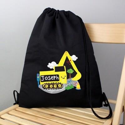 Personalised Digger Black Swim & Kit Bag