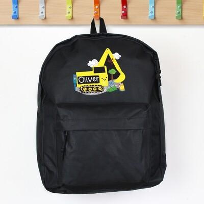 Personalised Digger Black Backpack