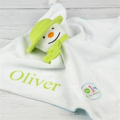 Snowman 1st Christmas Snuggle Blanket