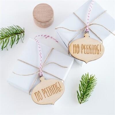 No Peeking Bauble Gift Tag - 10pk