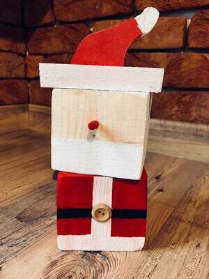 Daddy's Workshop - Handcrafted Wooden Santa  Father Christmas Stacking Cube Christmas Decoration with Button Detail