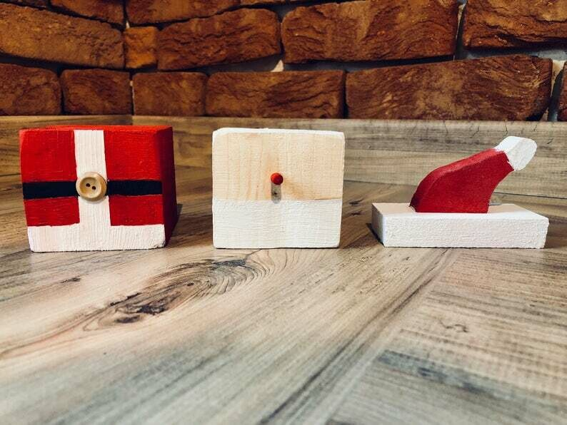 Daddy's Workshop - Handcrafted Wooden Snowman and Father Christnas / Santa Stacking Cube Christmas Decoration with Button Detail